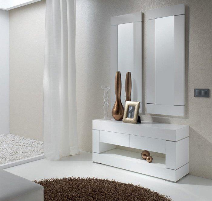 Consola lacada en blanco brillo kubic for Muebles consolas