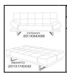 Sof cama blanca privasso for Medidas de sofa cama