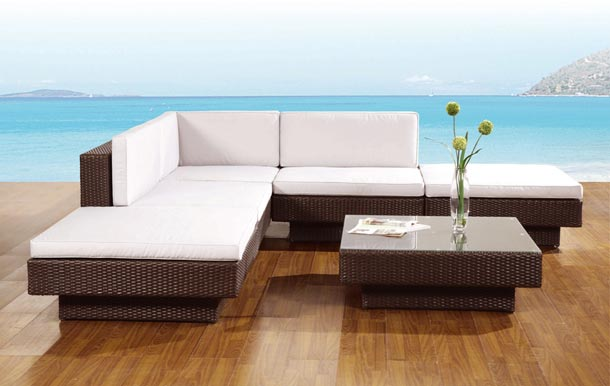 Set lounge chill out for Muebles jardin rattan sintetico exterior