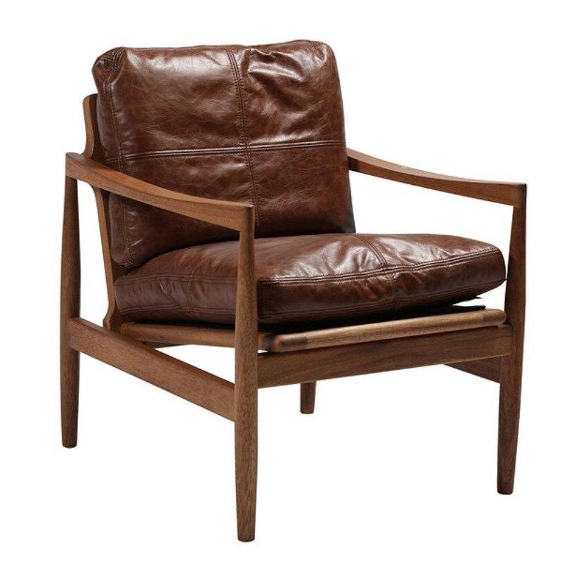 Sofa escandinavo piel y nogal for Sofas y sillones de piel