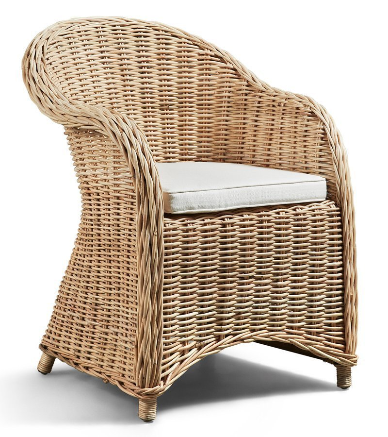 Butaca rattan en color natural for Muebles de exterior de rattan