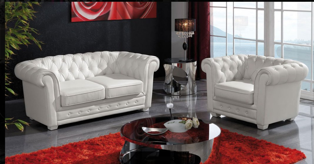 Sofa chester en polipiel piel sint tica for Sofa blanco barato