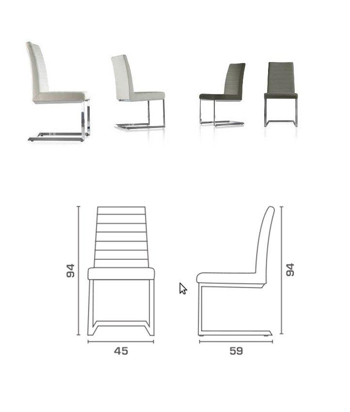 Silla cantilever medidas for Medidas silla comedor