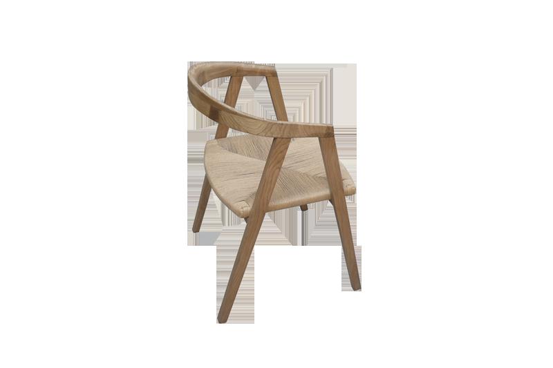 Silla madera en asiento de cuerda for Sillas comedor madera con brazos