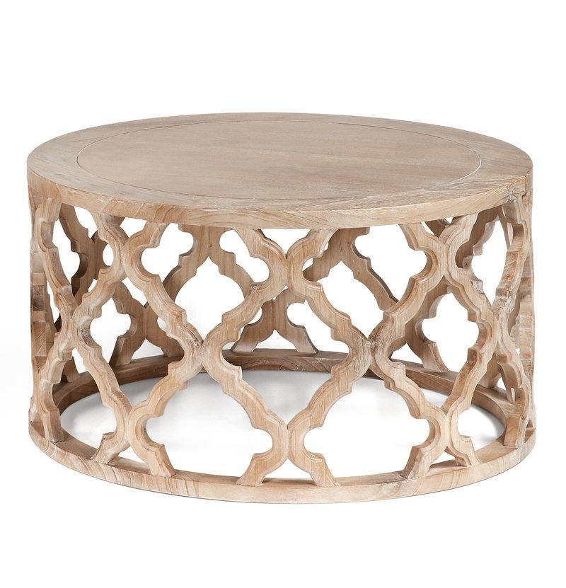 Mesa bajita redonda madera tallada - Mesa centro redonda ...